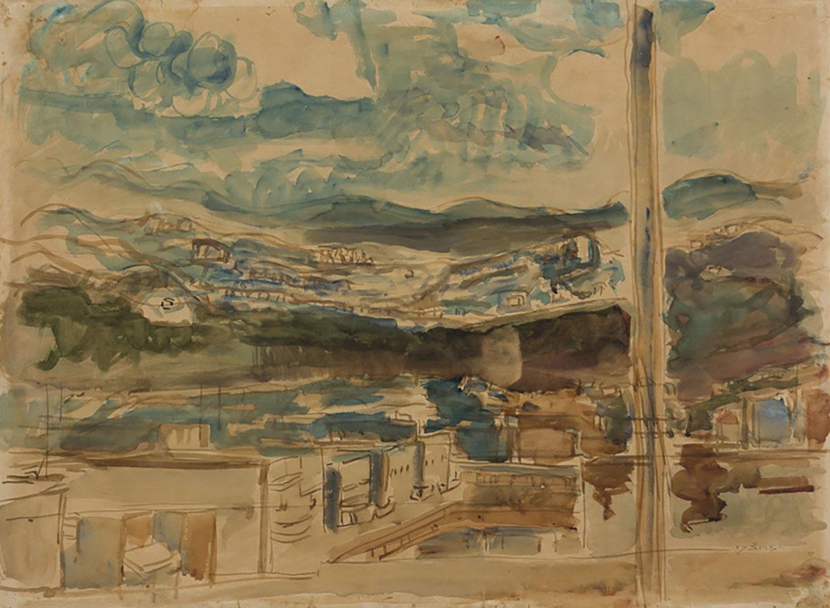 Zaritsky, Yossef - Tel Aviv Rooftops |  55X75 | 1930's |An Israeli Collection
